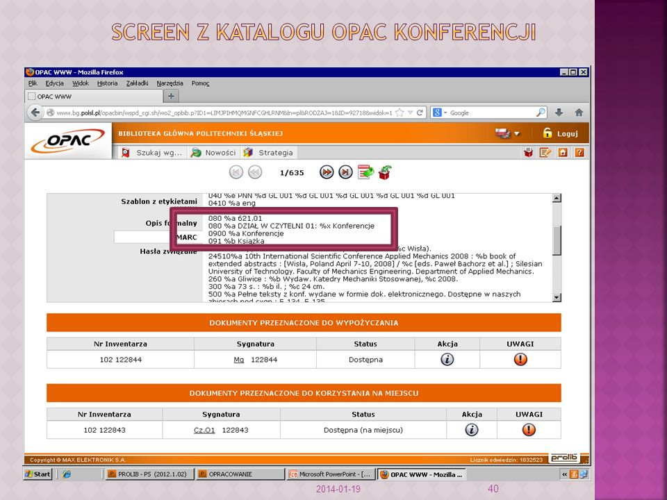 Screen z katalogu opac konferencji
