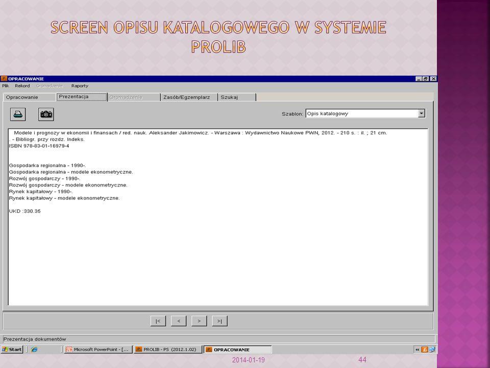 Screen opisu katalogowego w systemie prolib