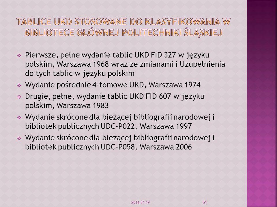 Tablice ukd stosowane do klasyfikowania w bibliotece głównej politechniki Śląskiej