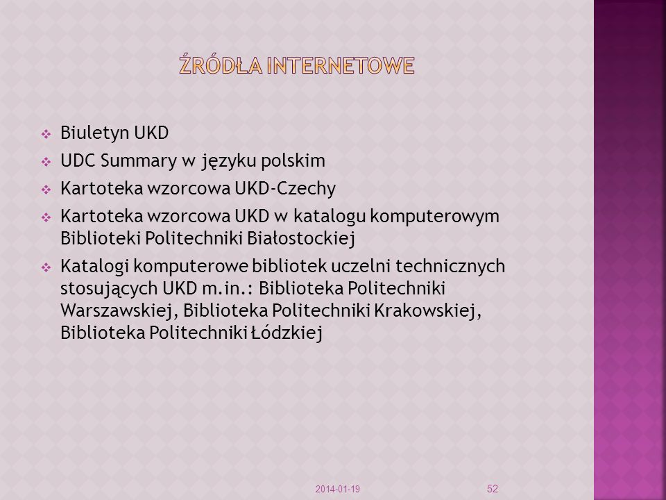 Źródła internetowe Biuletyn UKD UDC Summary w języku polskim