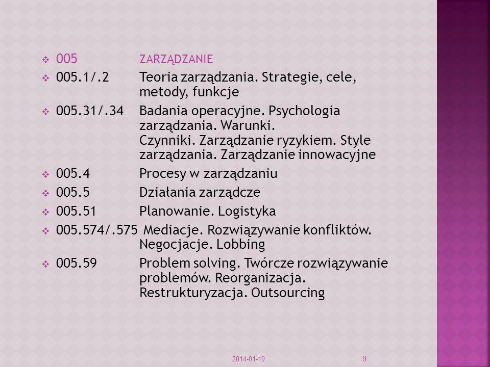 005.1/.2 Teoria zarządzania. Strategie, cele, metody, funkcje