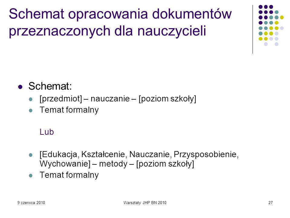 Schemat opracowania dokumentów przeznaczonych dla nauczycieli