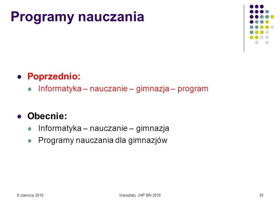 Programy nauczania Poprzednio: Obecnie: