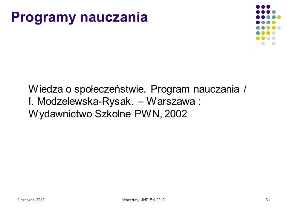 Programy nauczania Wiedza o społeczeństwie. Program nauczania / I. Modzelewska-Rysak. – Warszawa : Wydawnictwo Szkolne PWN, 2002.