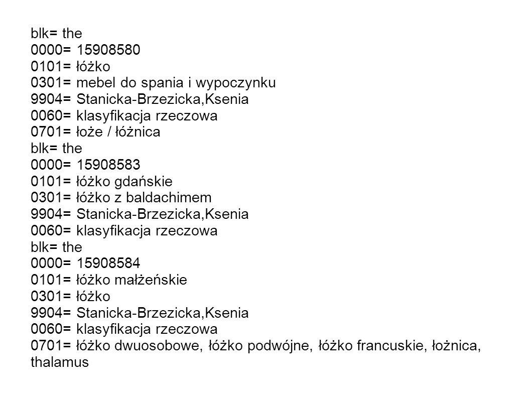 blk= the 0000= 15908580. 0101= łóżko. 0301= mebel do spania i wypoczynku. 9904= Stanicka-Brzezicka,Ksenia.