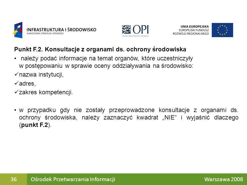 Punkt F.2. Konsultacje z organami ds. ochrony środowiska