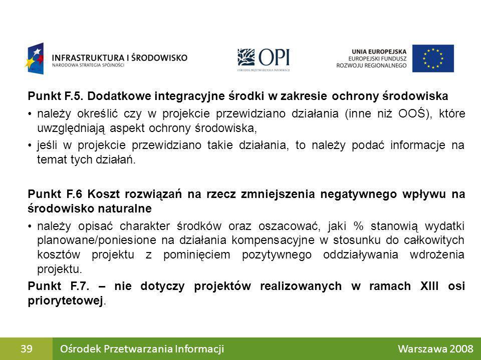Punkt F.5. Dodatkowe integracyjne środki w zakresie ochrony środowiska