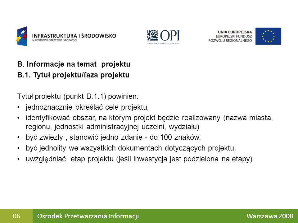 B. Informacje na temat projektu