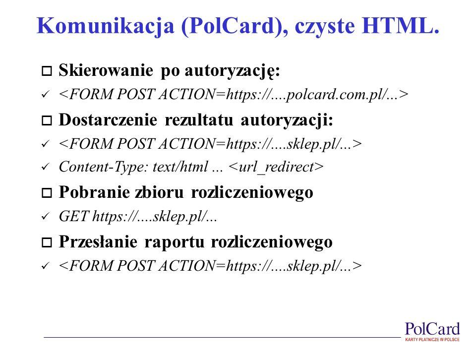 Komunikacja (PolCard), czyste HTML.