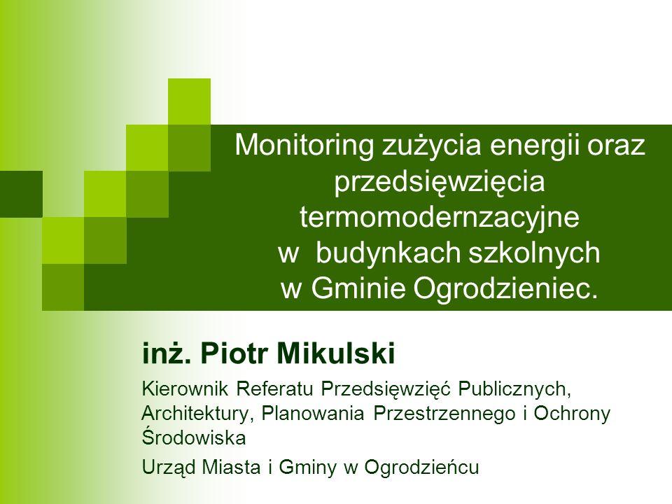 Monitoring zużycia energii oraz przedsięwzięcia termomodernzacyjne w budynkach szkolnych w Gminie Ogrodzieniec.