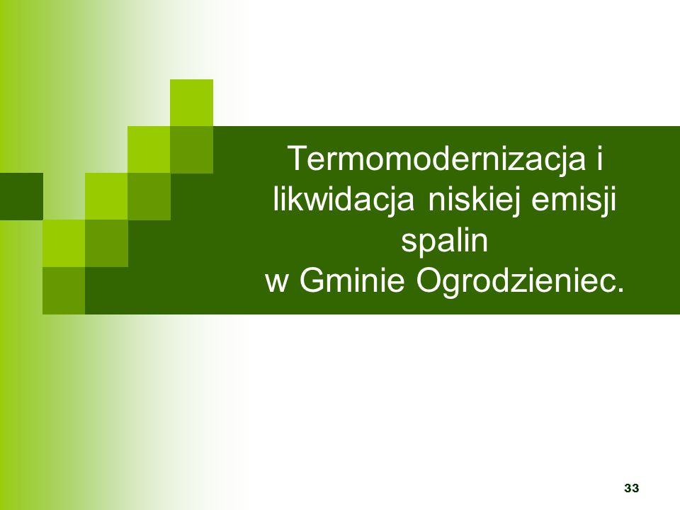Termomodernizacja i likwidacja niskiej emisji spalin w Gminie Ogrodzieniec.