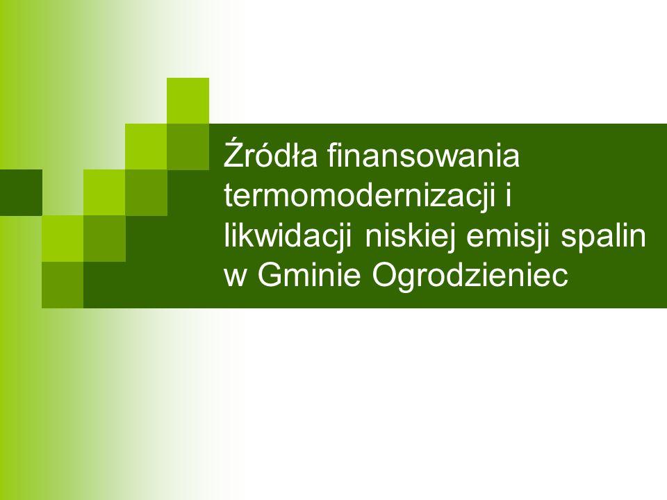 Źródła finansowania termomodernizacji i likwidacji niskiej emisji spalin w Gminie Ogrodzieniec