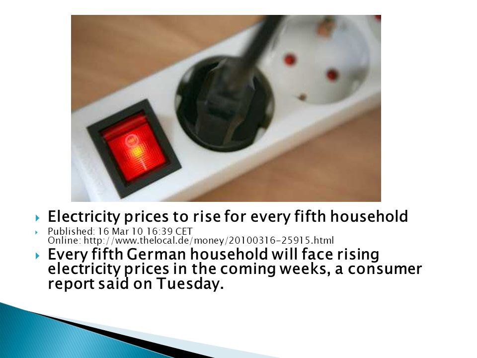 Electricity prices to rise for every fifth household