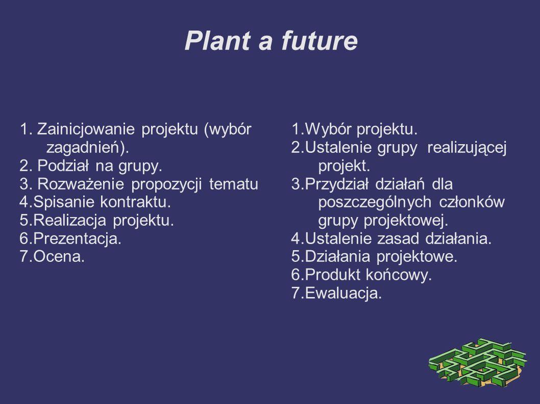 Plant a future 1. Zainicjowanie projektu (wybór zagadnień).