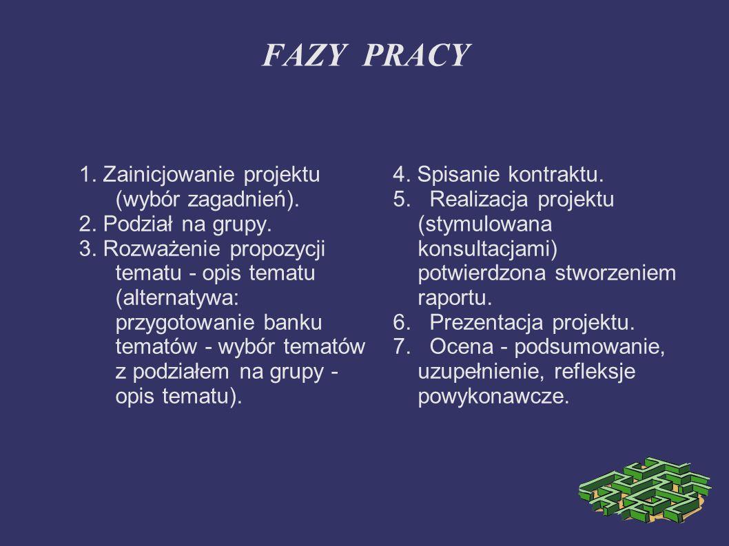 FAZY PRACY 1. Zainicjowanie projektu (wybór zagadnień).