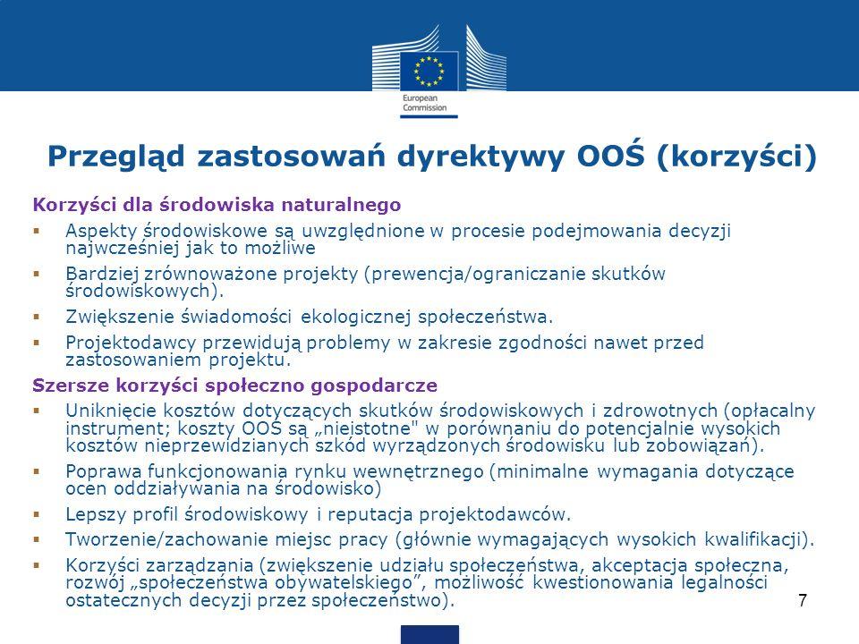 Przegląd zastosowań dyrektywy OOŚ (korzyści)