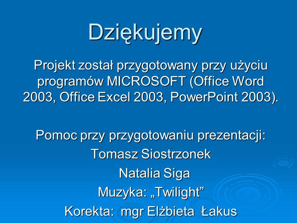 Dziękujemy Projekt został przygotowany przy użyciu programów MICROSOFT (Office Word 2003, Office Excel 2003, PowerPoint 2003).
