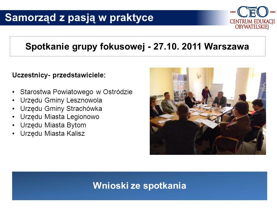 Spotkanie grupy fokusowej - 27.10. 2011 Warszawa