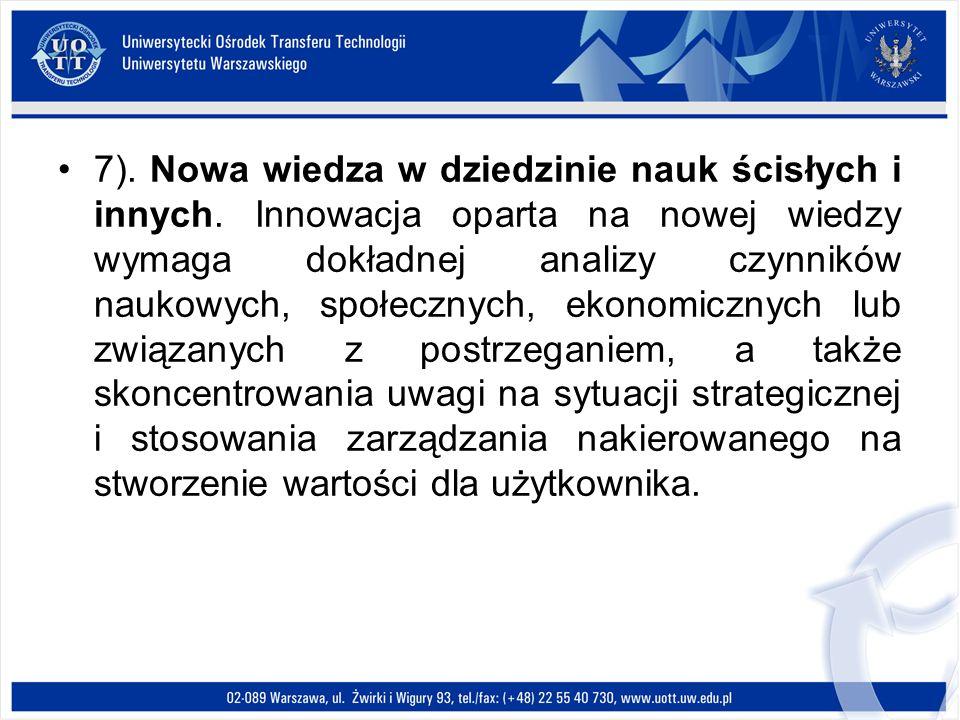 7). Nowa wiedza w dziedzinie nauk ścisłych i innych