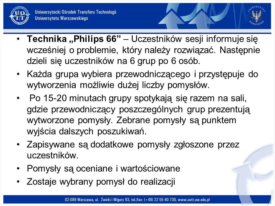 """Technika """"Philips 66 – Uczestników sesji informuje się wcześniej o problemie, który należy rozwiązać. Następnie dzieli się uczestników na 6 grup po 6 osób."""