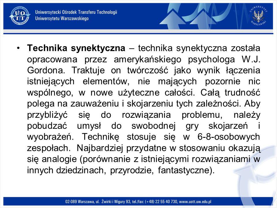 Technika synektyczna – technika synektyczna została opracowana przez amerykańskiego psychologa W.J.