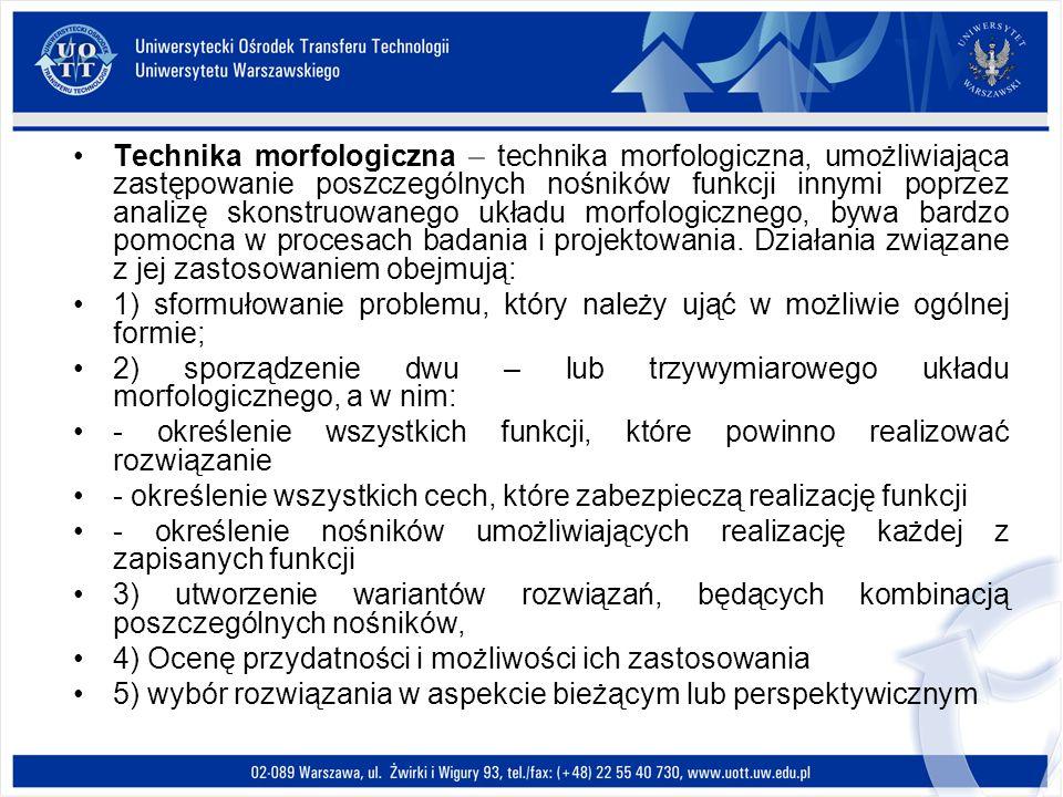 Technika morfologiczna – technika morfologiczna, umożliwiająca zastępowanie poszczególnych nośników funkcji innymi poprzez analizę skonstruowanego układu morfologicznego, bywa bardzo pomocna w procesach badania i projektowania. Działania związane z jej zastosowaniem obejmują: