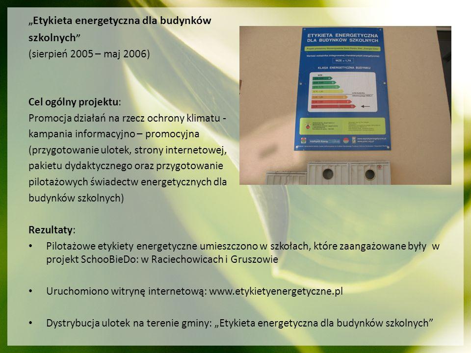 szkolnych (sierpień 2005 – maj 2006) Cel ogólny projektu: