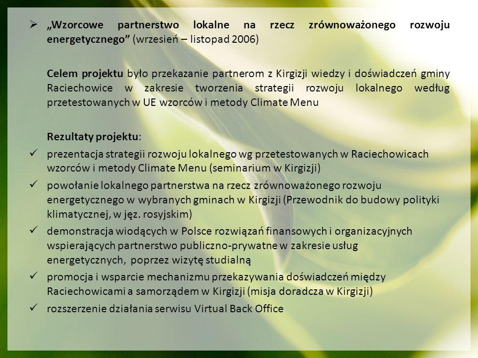 """""""Wzorcowe partnerstwo lokalne na rzecz zrównoważonego rozwoju energetycznego (wrzesień – listopad 2006)"""