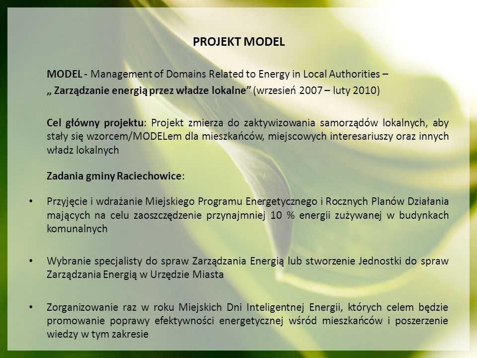 PROJEKT MODEL MODEL - Management of Domains Related to Energy in Local Authorities –