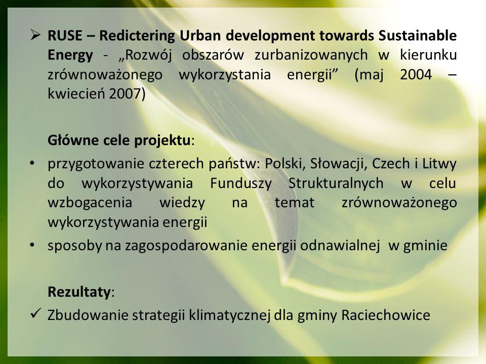 """RUSE – Redictering Urban development towards Sustainable Energy - """"Rozwój obszarów zurbanizowanych w kierunku zrównoważonego wykorzystania energii (maj 2004 – kwiecień 2007)"""
