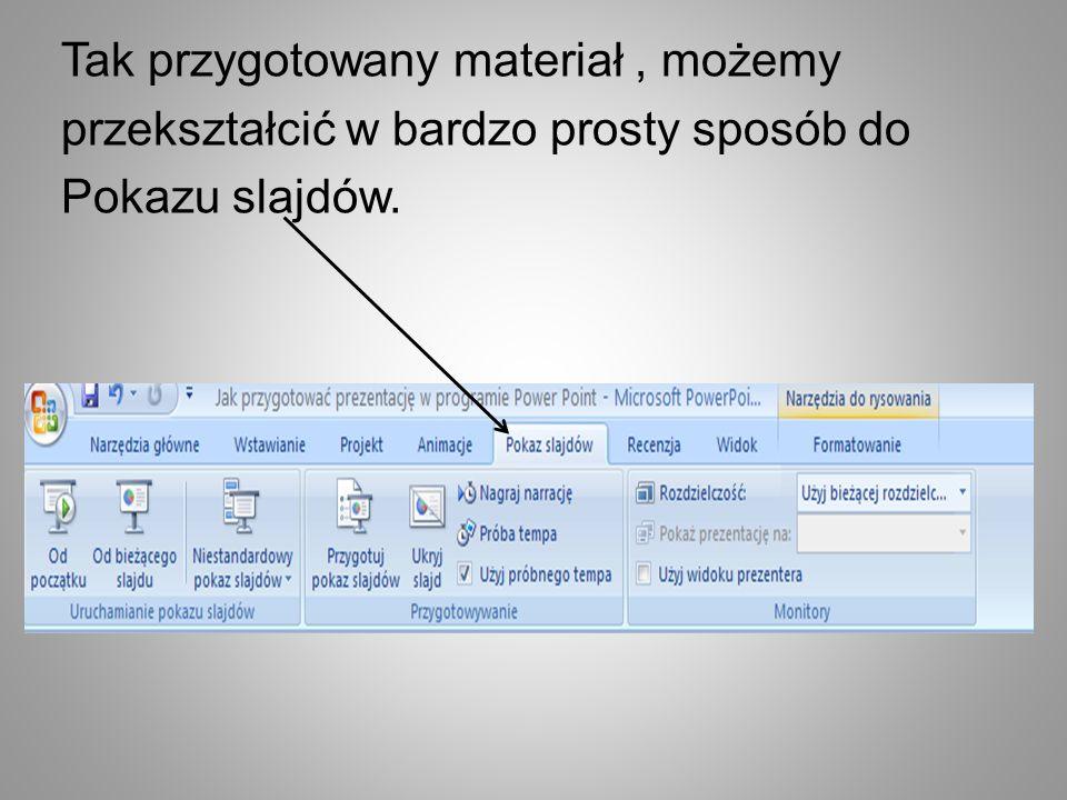 Tak przygotowany materiał , możemy przekształcić w bardzo prosty sposób do Pokazu slajdów.