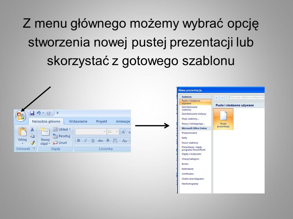 Z menu głównego możemy wybrać opcję stworzenia nowej pustej prezentacji lub skorzystać z gotowego szablonu