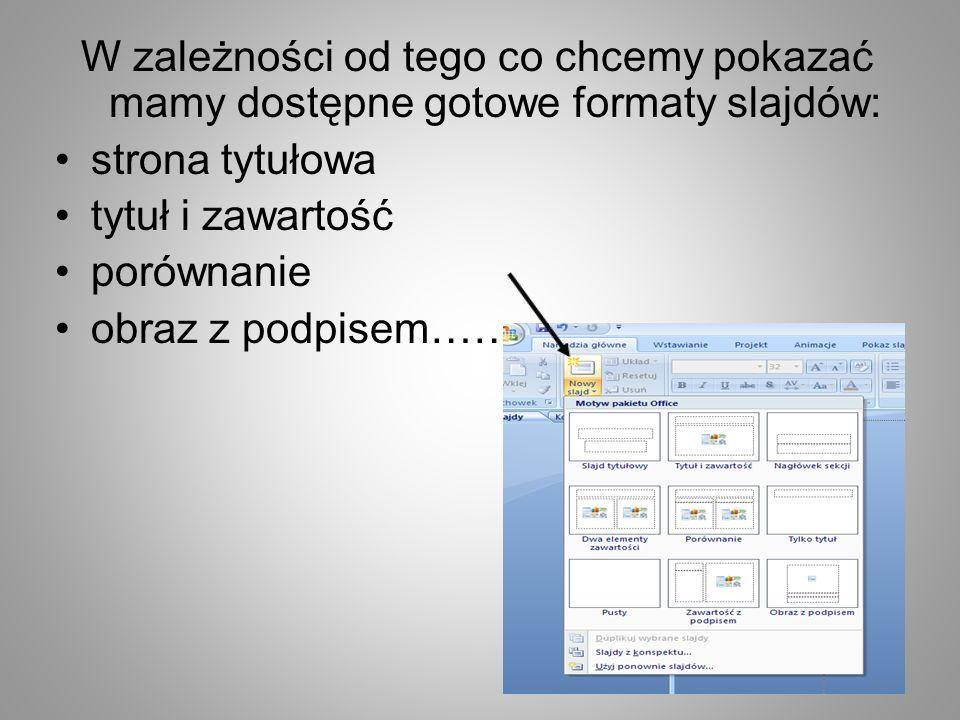 W zależności od tego co chcemy pokazać mamy dostępne gotowe formaty slajdów: