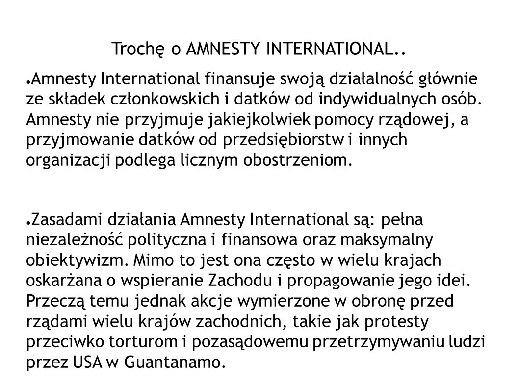 Trochę o AMNESTY INTERNATIONAL..