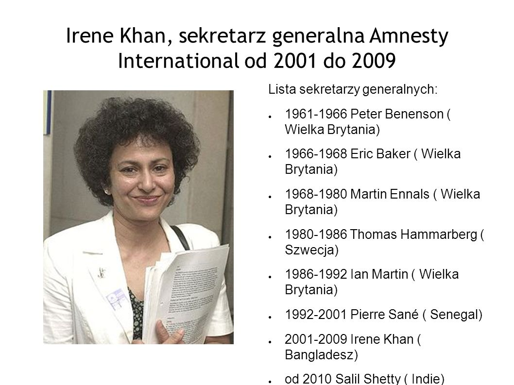 Irene Khan, sekretarz generalna Amnesty International od 2001 do 2009