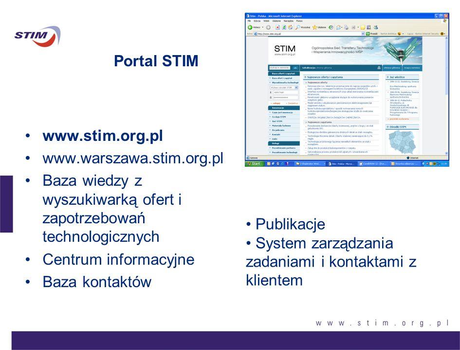 Portal STIM www.stim.org.pl. www.warszawa.stim.org.pl. Baza wiedzy z wyszukiwarką ofert i zapotrzebowań technologicznych.