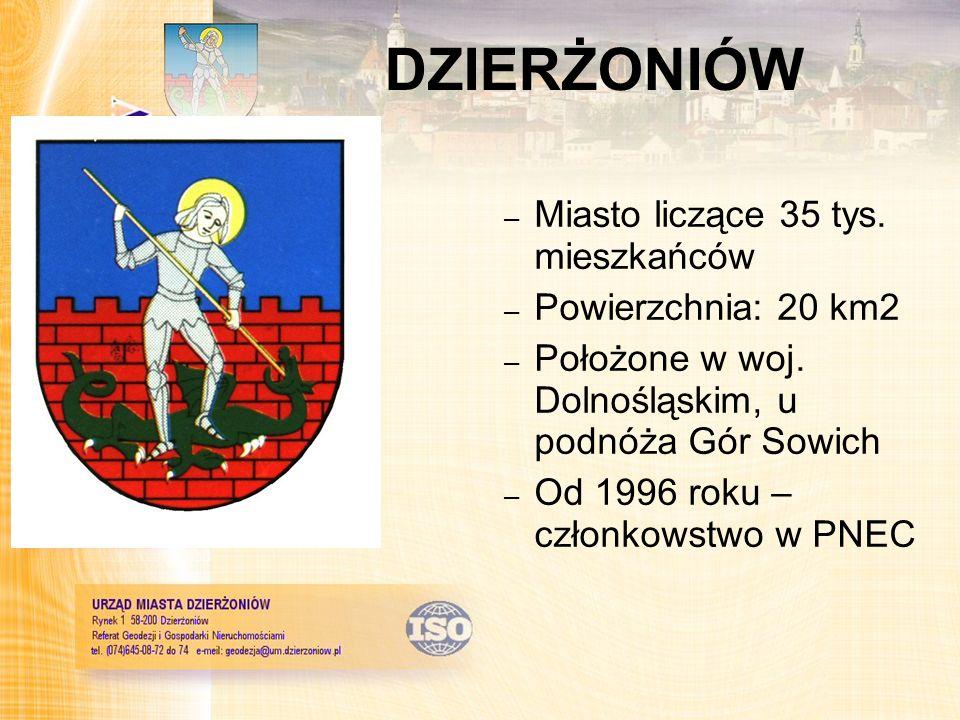 DZIERŻONIÓW Miasto liczące 35 tys. mieszkańców Powierzchnia: 20 km2
