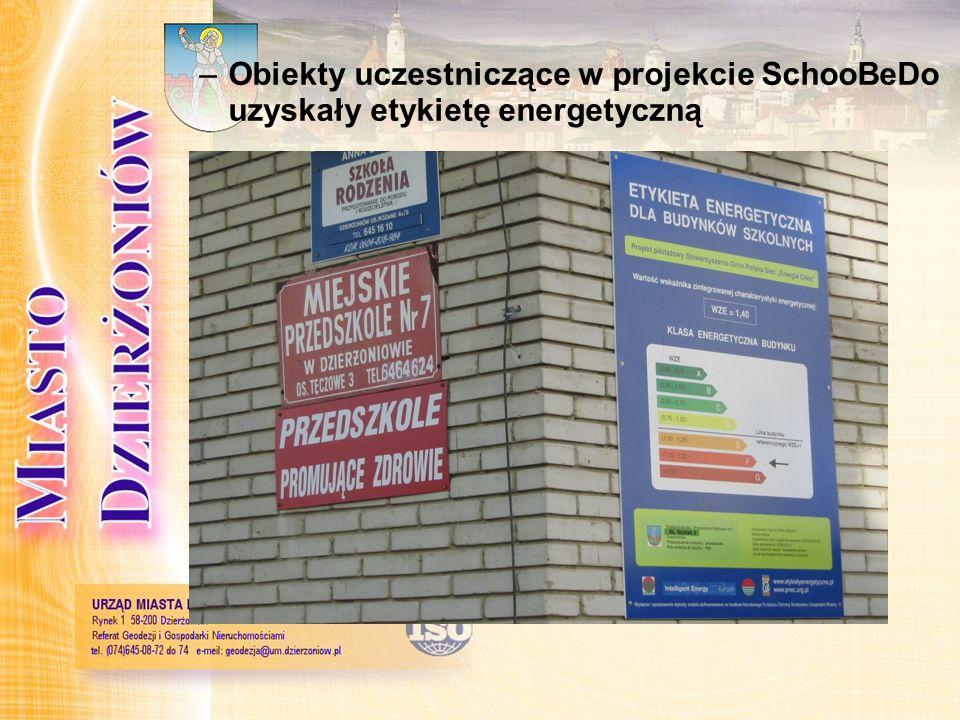 Obiekty uczestniczące w projekcie SchooBeDo uzyskały etykietę energetyczną