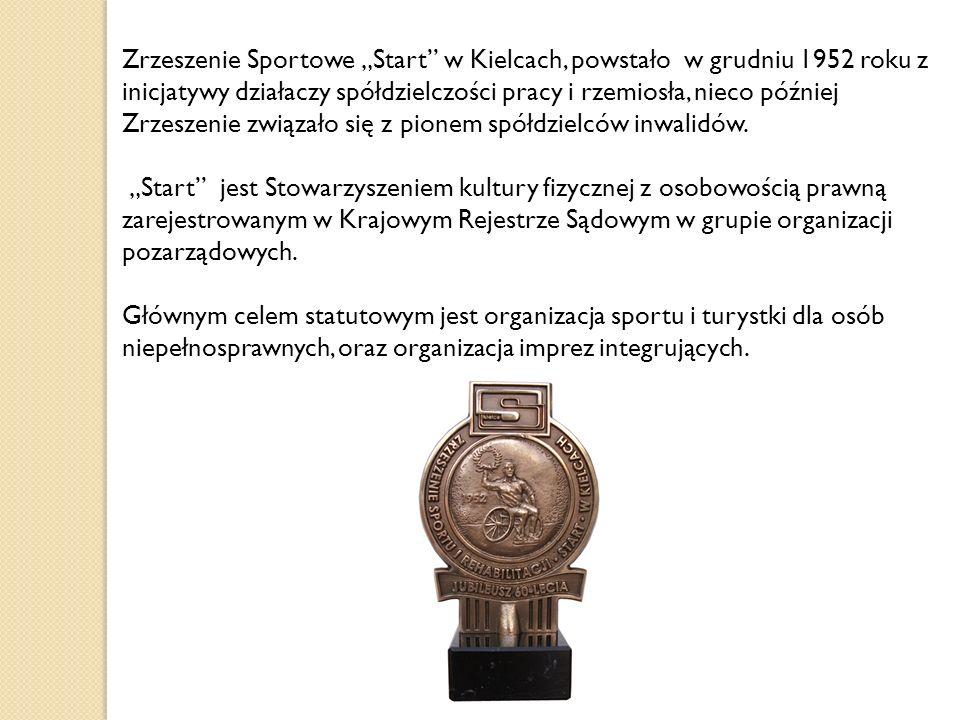 """Zrzeszenie Sportowe """"Start w Kielcach, powstało w grudniu 1952 roku z inicjatywy działaczy spółdzielczości pracy i rzemiosła, nieco później Zrzeszenie związało się z pionem spółdzielców inwalidów."""