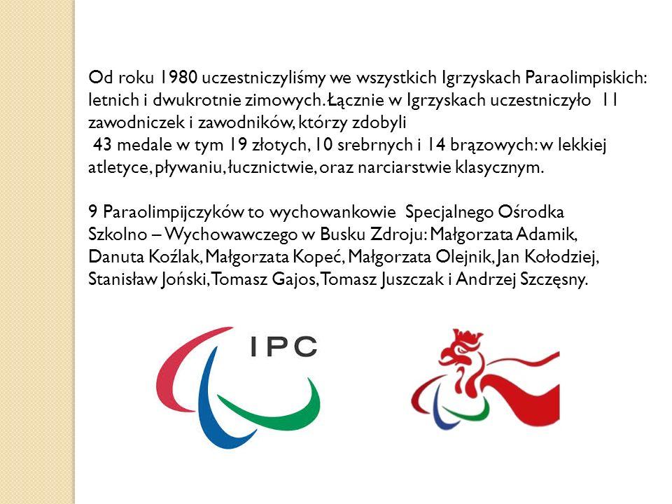 Od roku 1980 uczestniczyliśmy we wszystkich Igrzyskach Paraolimpiskich: letnich i dwukrotnie zimowych. Łącznie w Igrzyskach uczestniczyło 11 zawodniczek i zawodników, którzy zdobyli