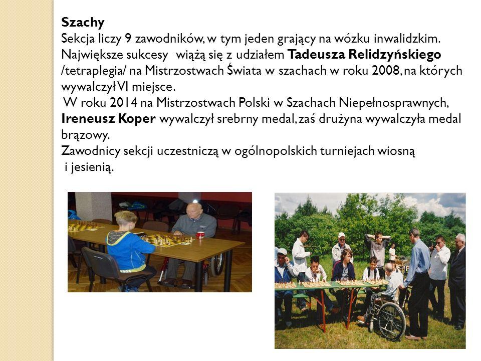 Szachy Sekcja liczy 9 zawodników, w tym jeden grający na wózku inwalidzkim.