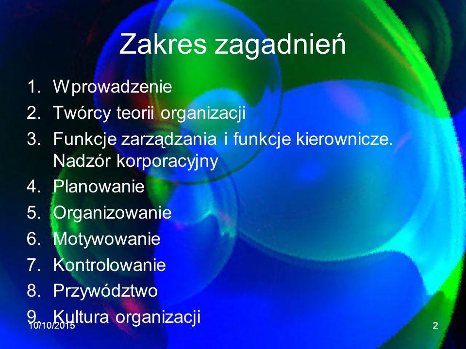 Zakres zagadnień Wprowadzenie Twórcy teorii organizacji