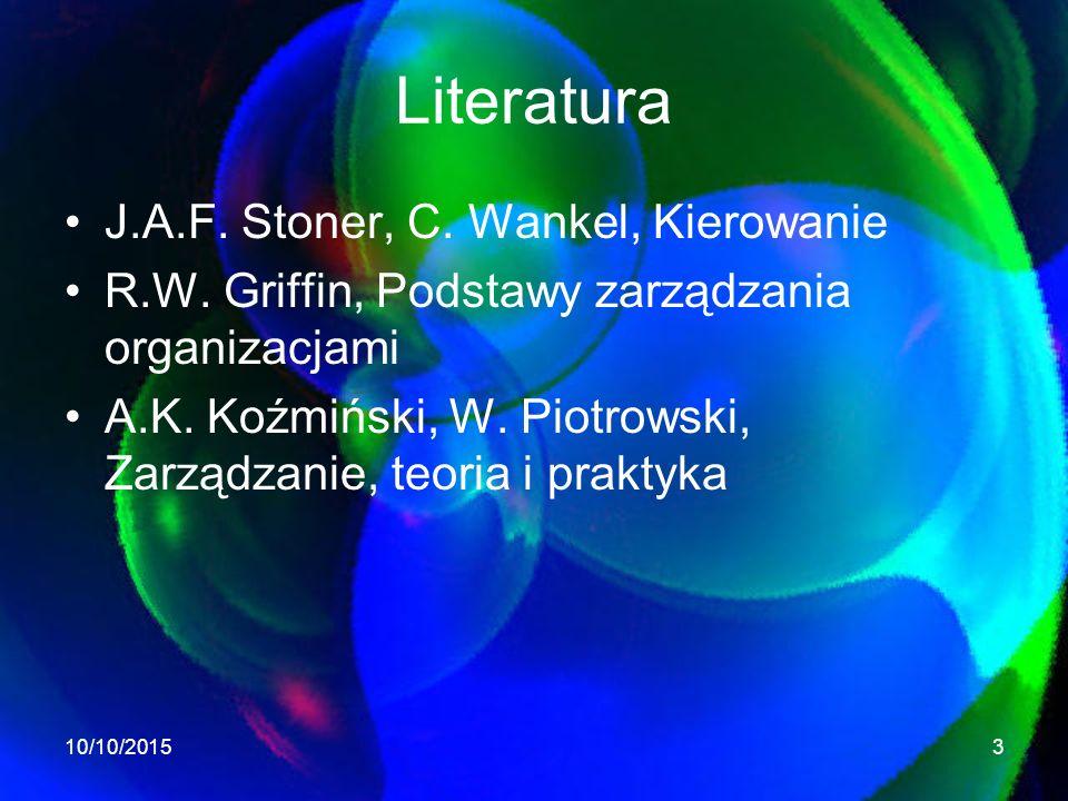 Literatura J.A.F. Stoner, C. Wankel, Kierowanie