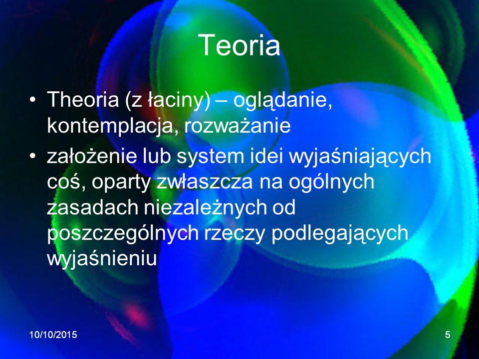 Teoria Theoria (z łaciny) – oglądanie, kontemplacja, rozważanie