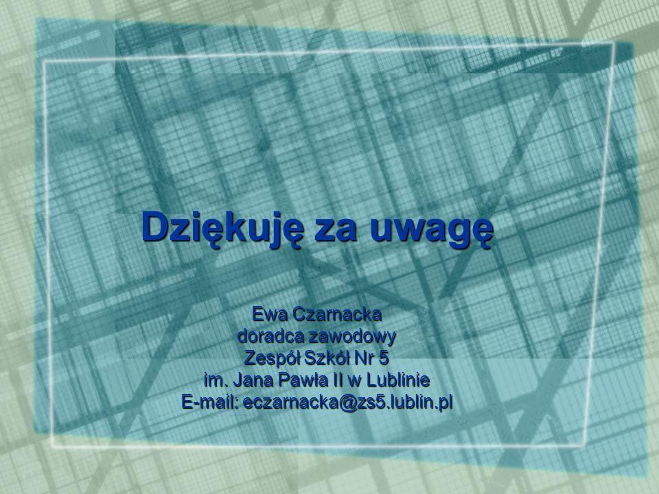 Dziękuję za uwagę Ewa Czarnacka doradca zawodowy Zespół Szkół Nr 5