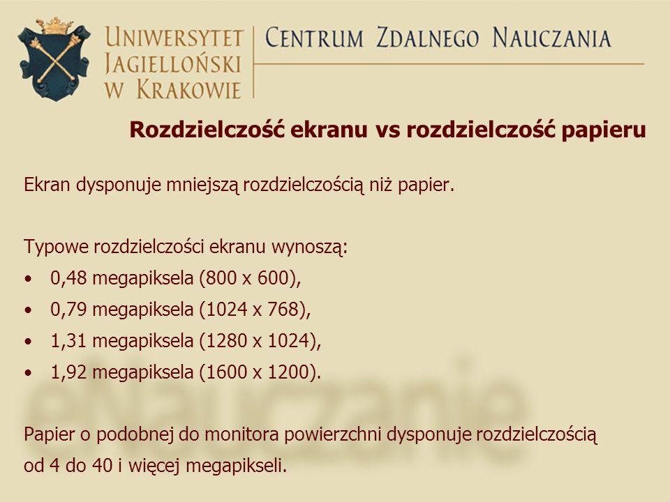 Rozdzielczość ekranu vs rozdzielczość papieru