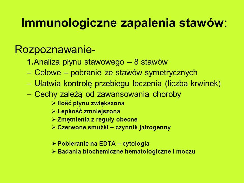 Immunologiczne zapalenia stawów: