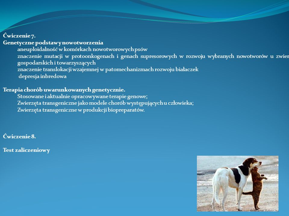 Ćwiczenie 7. Genetyczne podstawy nowotworzenia. aneuploidalność w komórkach nowotworowych psów.