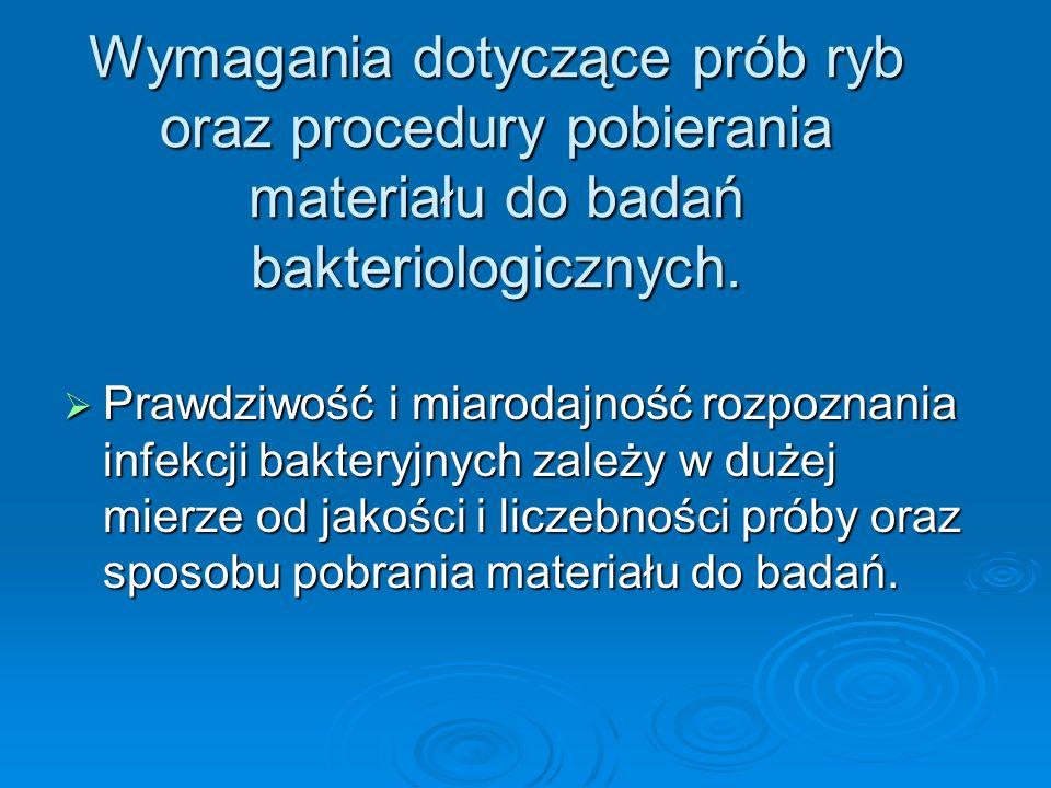 Wymagania dotyczące prób ryb oraz procedury pobierania materiału do badań bakteriologicznych.
