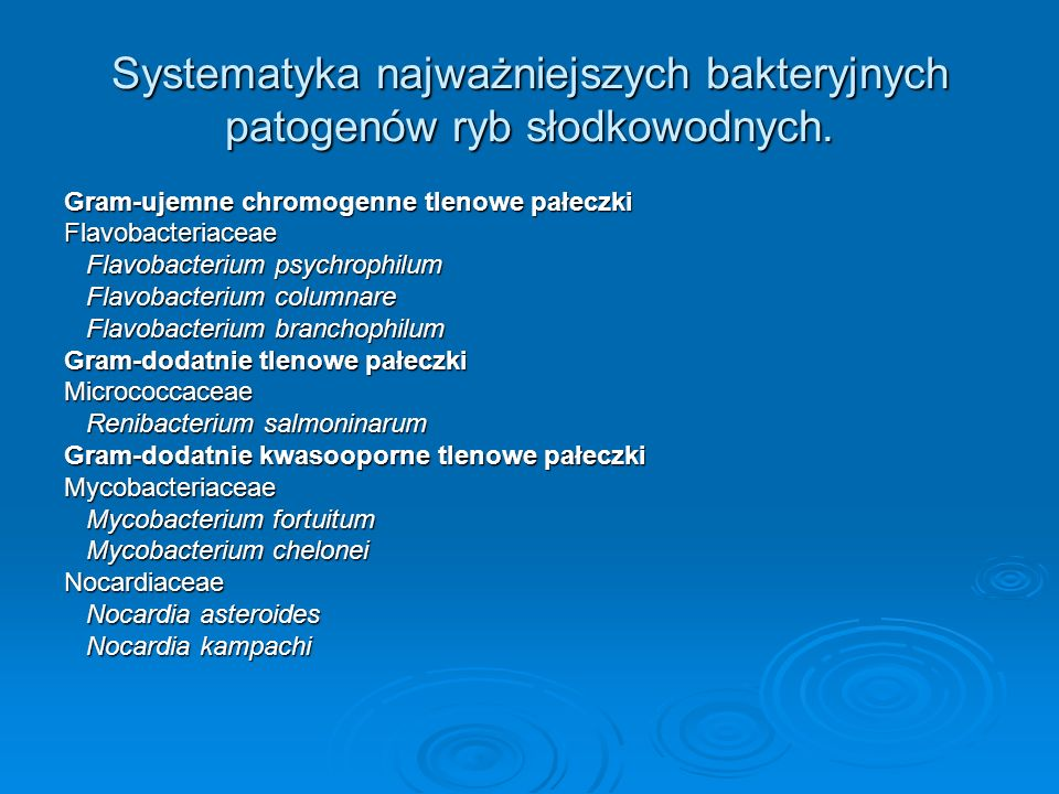 Systematyka najważniejszych bakteryjnych patogenów ryb słodkowodnych.